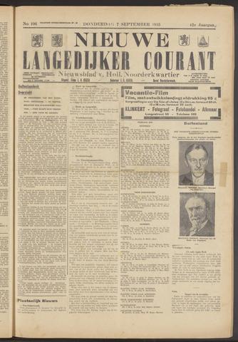 Nieuwe Langedijker Courant 1933-09-07