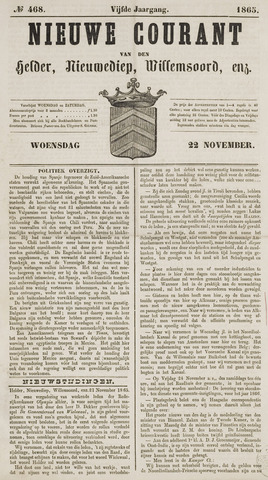 Nieuwe Courant van Den Helder 1865-11-22