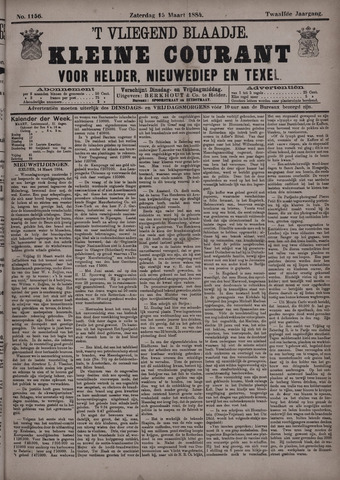 Vliegend blaadje : nieuws- en advertentiebode voor Den Helder 1884-03-15