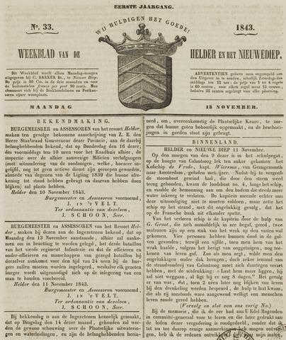 Weekblad van Den Helder en het Nieuwediep 1843-11-13