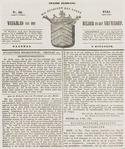 Weekblad van Den Helder en het Nieuwediep 1844-12-09