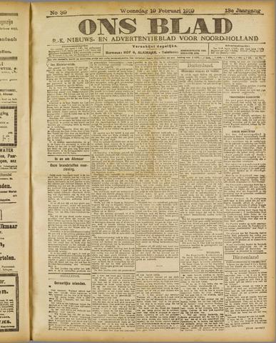 Ons Blad : katholiek nieuwsblad voor N-H 1919-02-19
