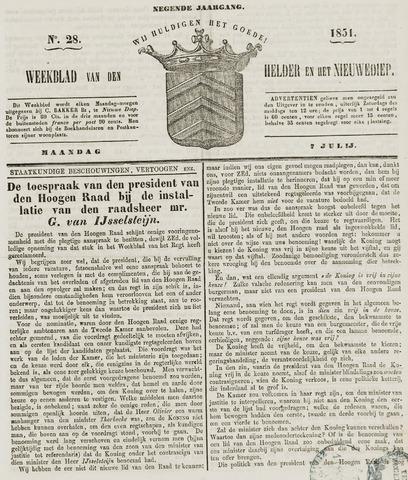 Weekblad van Den Helder en het Nieuwediep 1851-07-07