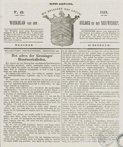 Weekblad van Den Helder en het Nieuwediep 1853-10-17