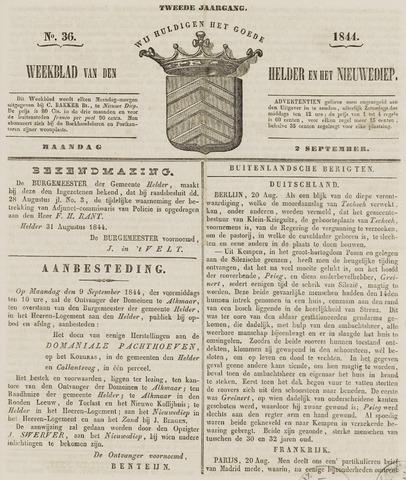 Weekblad van Den Helder en het Nieuwediep 1844-09-02