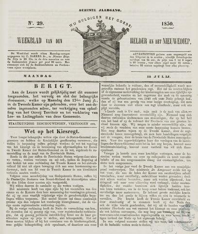 Weekblad van Den Helder en het Nieuwediep 1850-07-15
