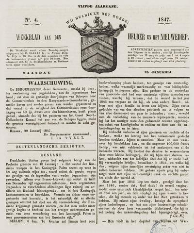 Weekblad van Den Helder en het Nieuwediep 1847-01-25