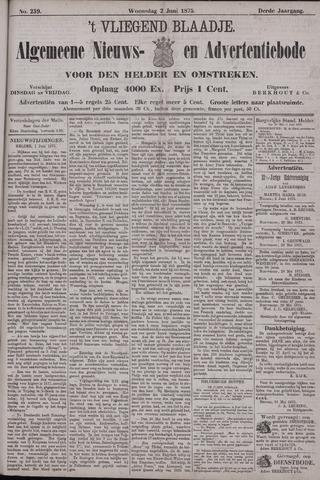 Vliegend blaadje : nieuws- en advertentiebode voor Den Helder 1875-06-02