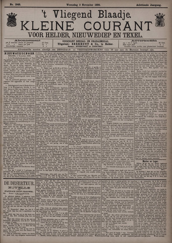 Vliegend blaadje : nieuws- en advertentiebode voor Den Helder 1890-11-05