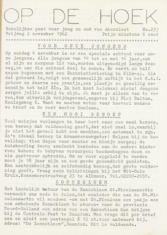 Op De Hoek, weekblad voor Akersloot 1962-11-02