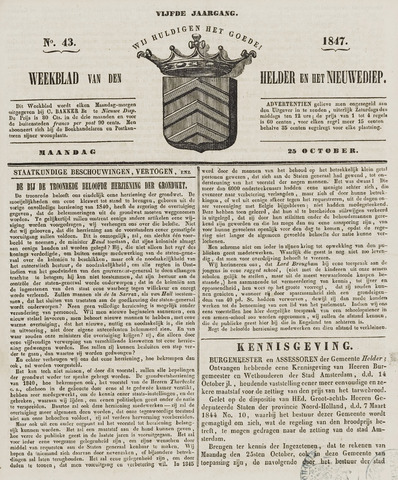 Weekblad van Den Helder en het Nieuwediep 1847-10-25