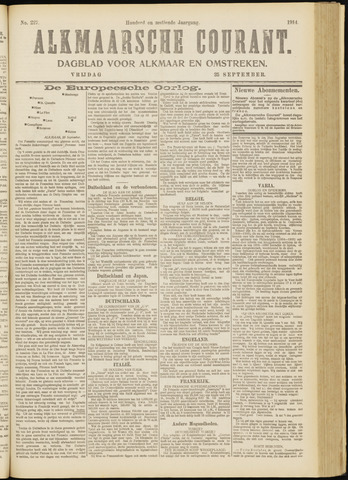 Alkmaarsche Courant 1914-09-25