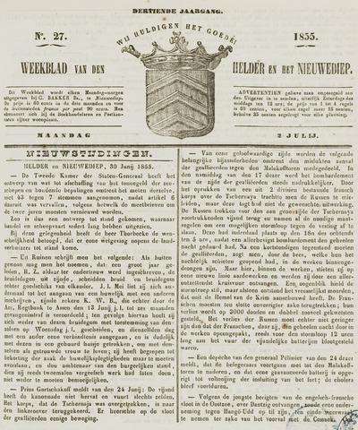 Weekblad van Den Helder en het Nieuwediep 1855-07-02