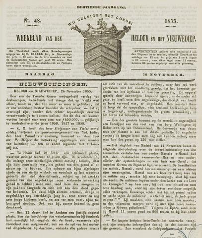 Weekblad van Den Helder en het Nieuwediep 1855-11-26