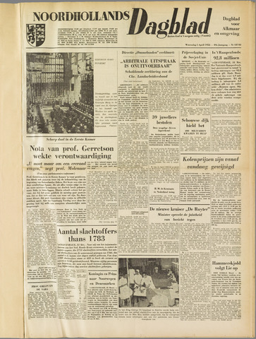 Noordhollands Dagblad : dagblad voor Alkmaar en omgeving 1953-04-01