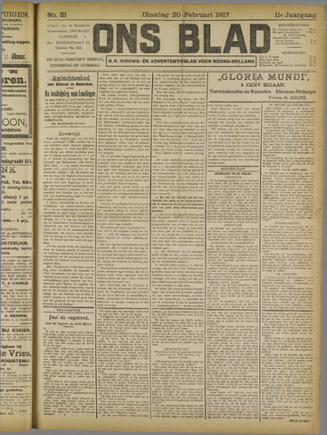 Ons Blad : katholiek nieuwsblad voor N-H 1917-02-20