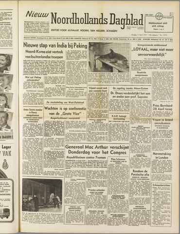 Nieuw Noordhollandsch Dagblad : voor Alkmaar en omgeving 1951-04-17
