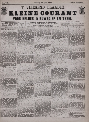 Vliegend blaadje : nieuws- en advertentiebode voor Den Helder 1880-04-20