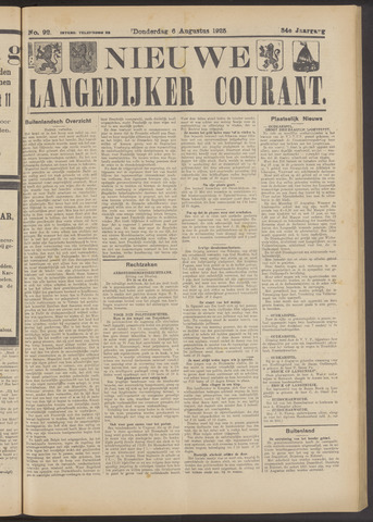 Nieuwe Langedijker Courant 1925-08-06