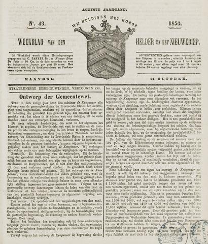 Weekblad van Den Helder en het Nieuwediep 1850-10-21