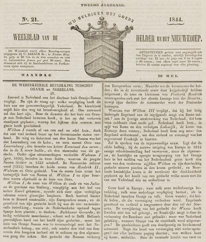Weekblad van Den Helder en het Nieuwediep 1844-05-20