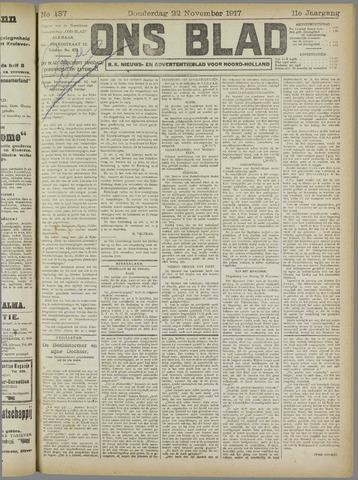 Ons Blad : katholiek nieuwsblad voor N-H 1917-11-22