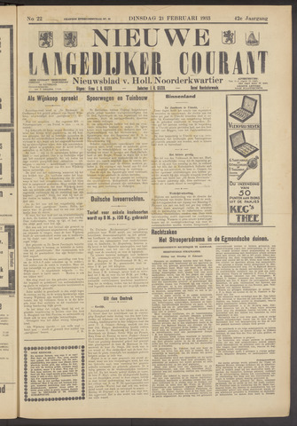 Nieuwe Langedijker Courant 1933-02-21