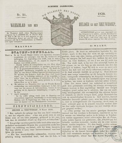 Weekblad van Den Helder en het Nieuwediep 1850-03-11