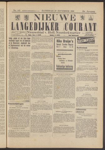 Nieuwe Langedijker Courant 1930-11-29