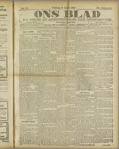 Ons Blad : katholiek nieuwsblad voor N-H 1919-04-04