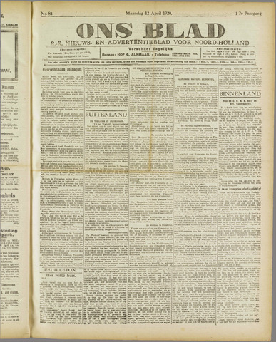 Ons Blad : katholiek nieuwsblad voor N-H 1920-04-12