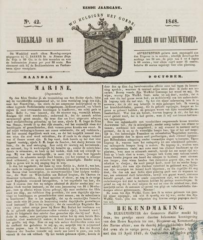 Weekblad van Den Helder en het Nieuwediep 1848-10-09