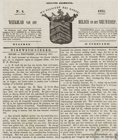 Weekblad van Den Helder en het Nieuwediep 1851-02-17