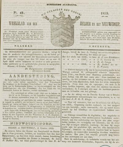 Weekblad van Den Helder en het Nieuwediep 1855-10-08