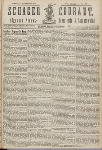 Schager Courant 1920-11-02