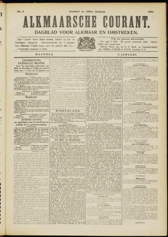 Alkmaarsche Courant 1909-01-11