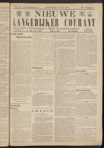 Nieuwe Langedijker Courant 1931-07-11