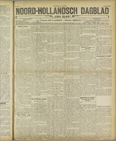 Ons Blad : katholiek nieuwsblad voor N-H 1921-07-07