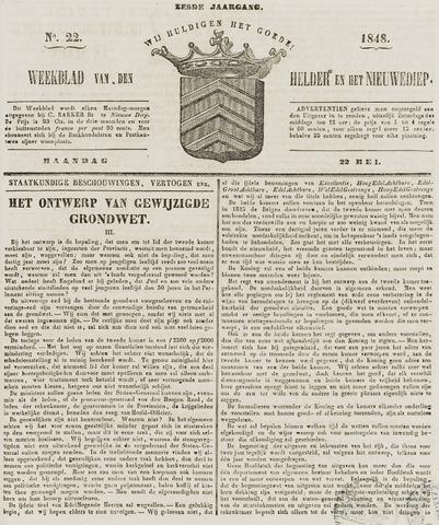 Weekblad van Den Helder en het Nieuwediep 1848-05-22
