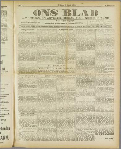 Ons Blad : katholiek nieuwsblad voor N-H 1920-04-02