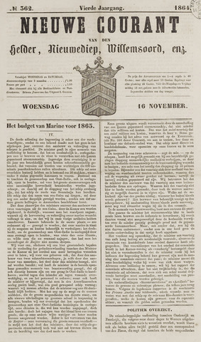 Nieuwe Courant van Den Helder 1864-11-16