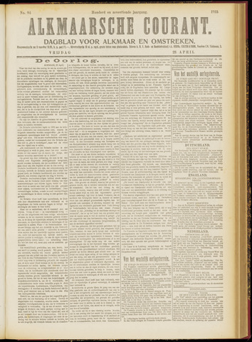 Alkmaarsche Courant 1915-04-23