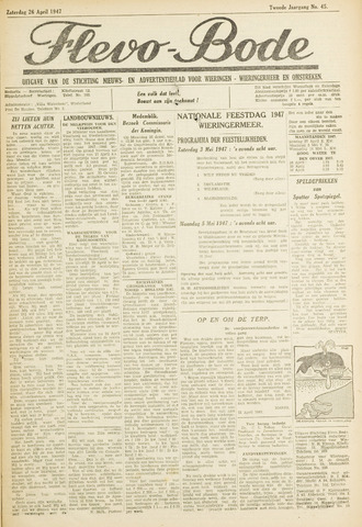 Flevo-bode: nieuwsblad voor Wieringen-Wieringermeer 1947-04-26
