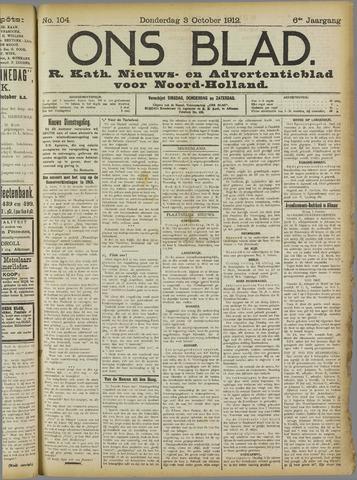 Ons Blad : katholiek nieuwsblad voor N-H 1912-10-03