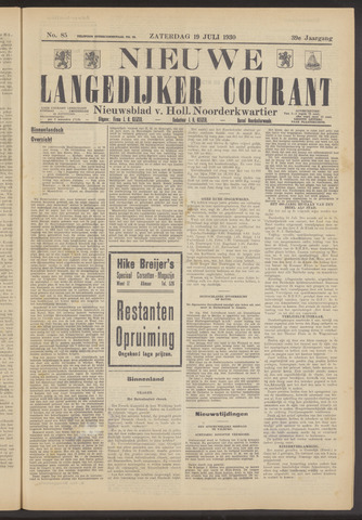 Nieuwe Langedijker Courant 1930-07-19