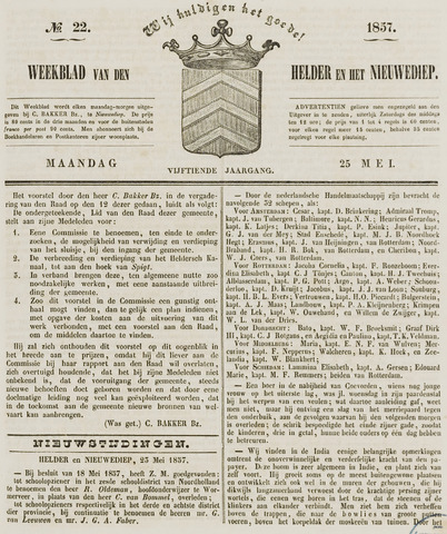 Weekblad van Den Helder en het Nieuwediep 1857-05-25