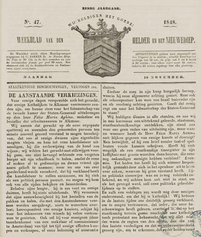 Weekblad van Den Helder en het Nieuwediep 1848-11-13