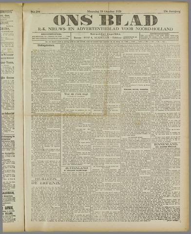 Ons Blad : katholiek nieuwsblad voor N-H 1920-10-18