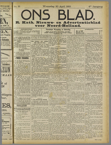 Ons Blad : katholiek nieuwsblad voor N-H 1910-04-20