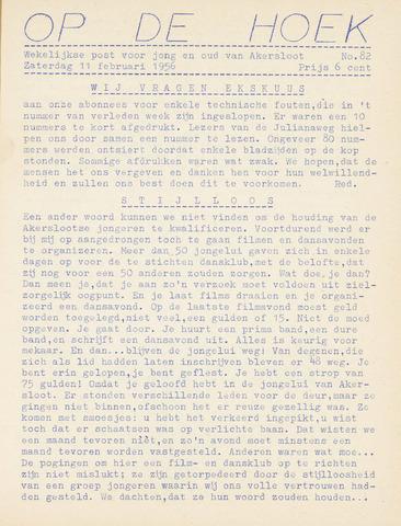 Op De Hoek, weekblad voor Akersloot 1956-02-11